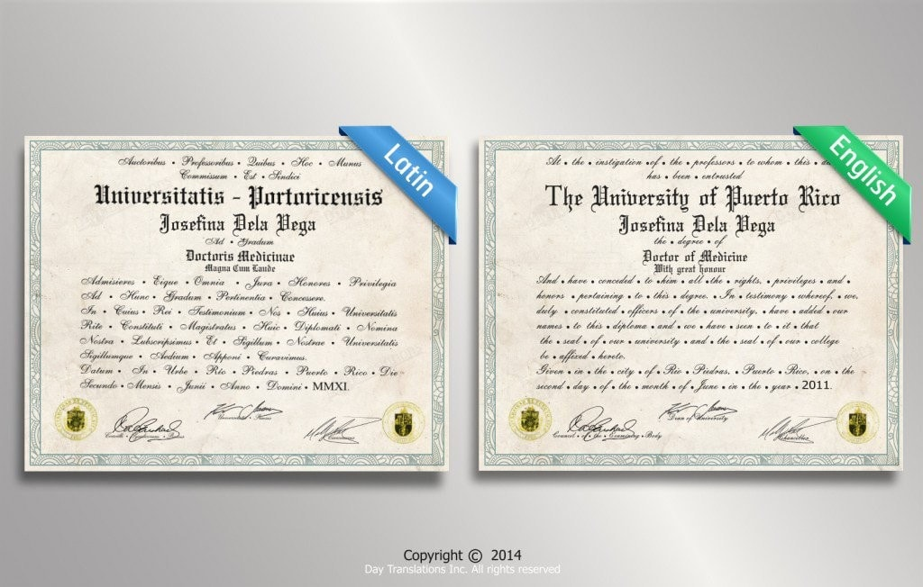Latin to English College Diploma Sample