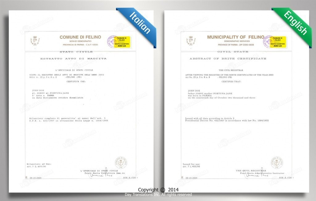 Certified translation samples day translations work for Russian birth certificate translation template