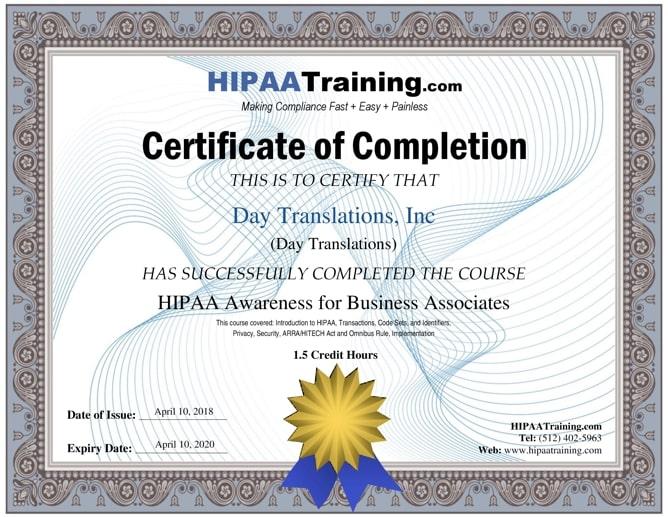certificate hippa