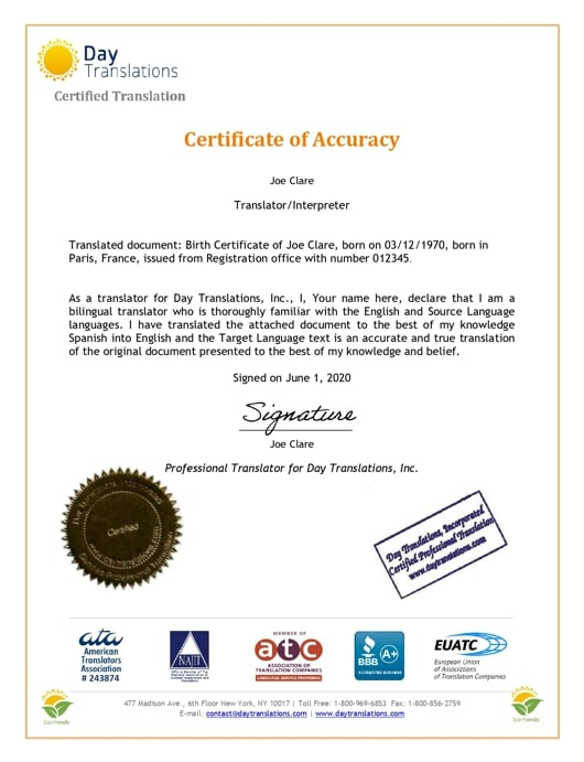 English Sample Certificate of Accuracy