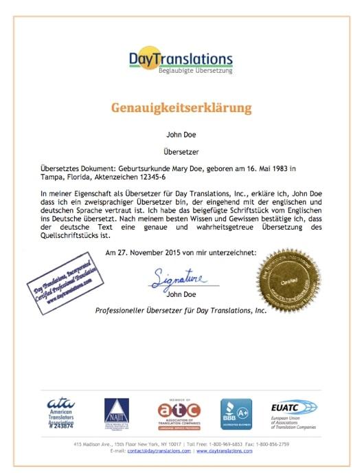 German Sample Certificate of Accuracy