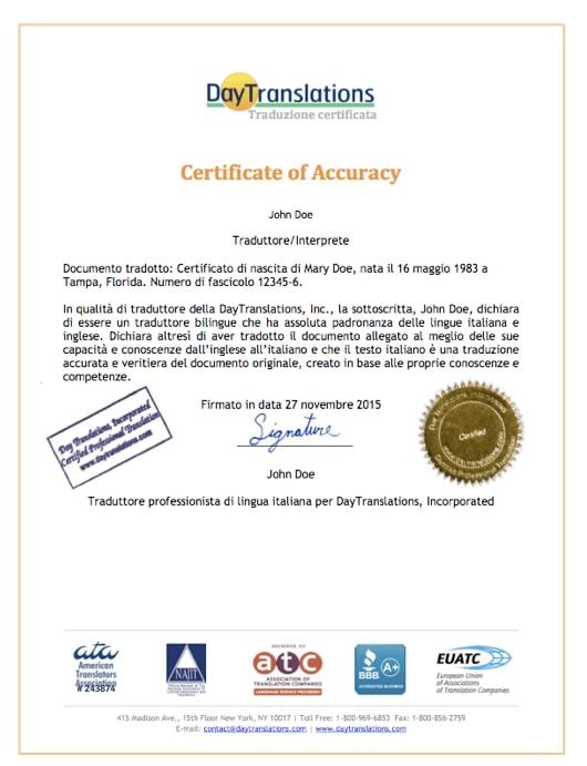Italian Sample Certificate of Accuracy