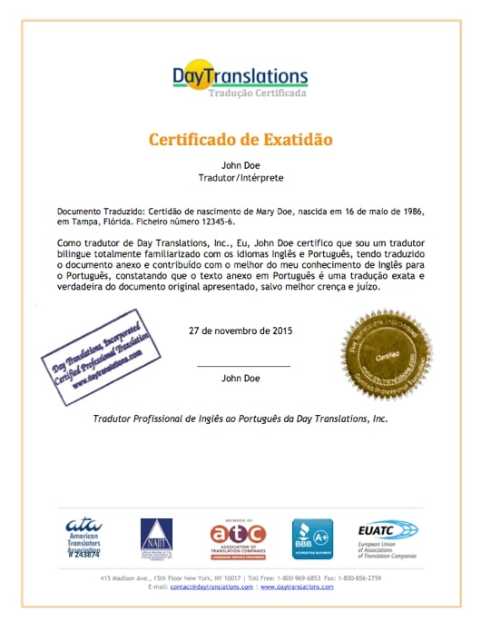 Portuguese Sample Certificate of Accuracy
